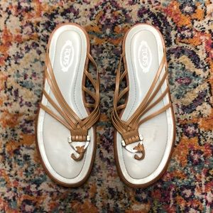 Tod's brown and aqua leather sandals size 7.5